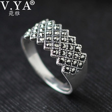 100% Real Pure 925 Sterling Silver Ring for women Wholesale free shipping Marcasite ring women Jewelry WR20105ring bestring guitarrings overstock