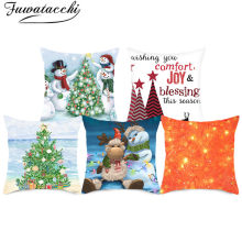 Fuwatacchi Christmas Tree Bell Cushion Covers Polyester Snowman Pillowcase For Home Sofa Decorative White Pillows Covers 45x45cm(China)