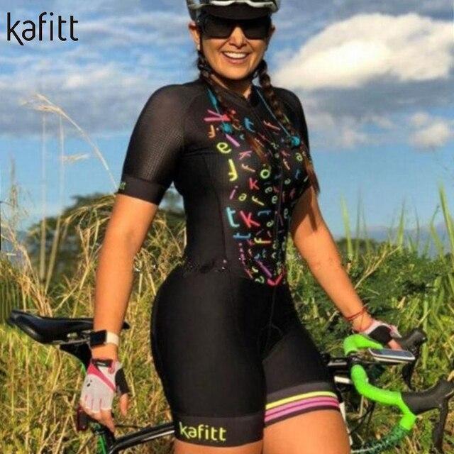 Kafitt Pro equipe triathlon terno das mulheres Macacão de manga curta Camisa de ciclismo Skinsuit Maillot Vestuário ciclismo ciclismo setgel 3