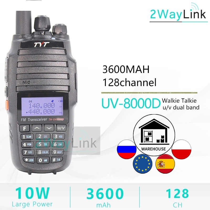 TYT TH-UV8000D Walkie Talkie 10 KM Dual Band VHF & UHF 10W 10 km Amateur radio 3600mAh Kreuz-band Repeater Funktion tyt radio