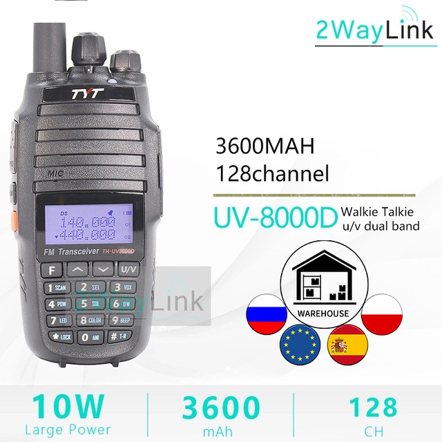TYT TH UV8000D ווקי טוקי 10 KM Dual Band VHF & UHF 10W 10 km חובב רדיו 3600mAh צלב פונקצית צלב band משחזר tyt רדיו
