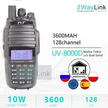 Tyt TH UV8000Dトランシーバー10キロデュアルバンドvhf & uhf 10ワット10キロアマチュア無線3600 2600mahクロスバンドリピータ機能tytラジオ