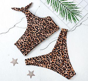 Сексуальный леопардовый комплект бикини с пуш-ап, на одно плечо, с бантом, бикини, бикини, женский сексуальный купальник, бразильский купаль...