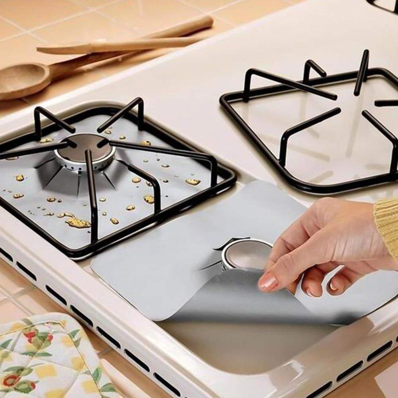 4Pcs Gas Stove Protector gas Stove Cooker Burner cover liner Clean Mat Kitchen Gas Stove Stovetop Protector Kitchen Accessories-in Other Cookware Parts from Home & Garden
