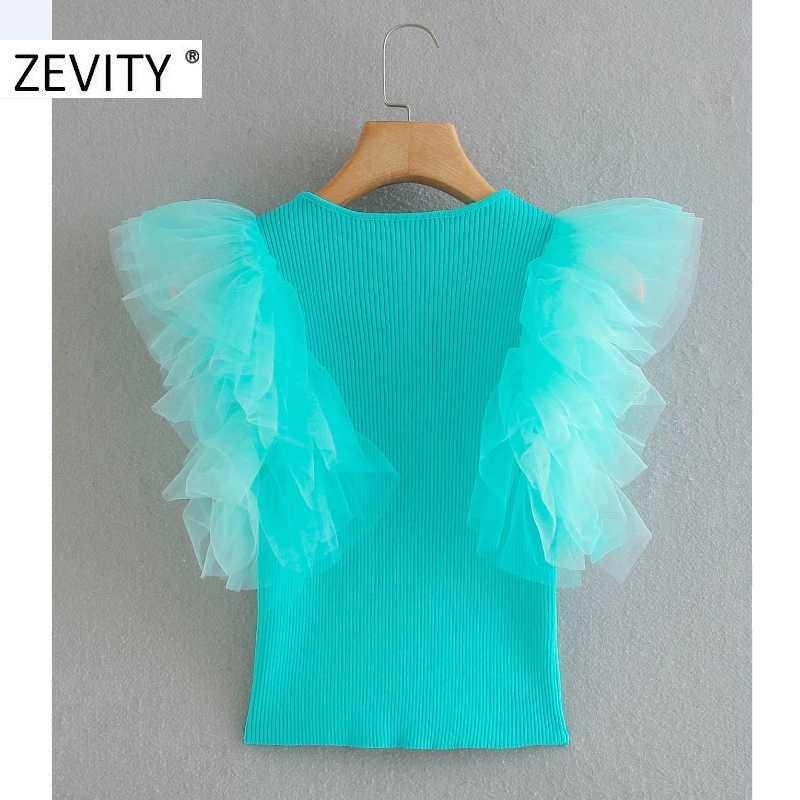 ZEVITYผู้หญิงแฟชั่นOคอCascading Ruffleตาข่ายPatchworkถักเสื้อผู้หญิงแขนผีเสื้อRoupas Chicเสื้อLS7082