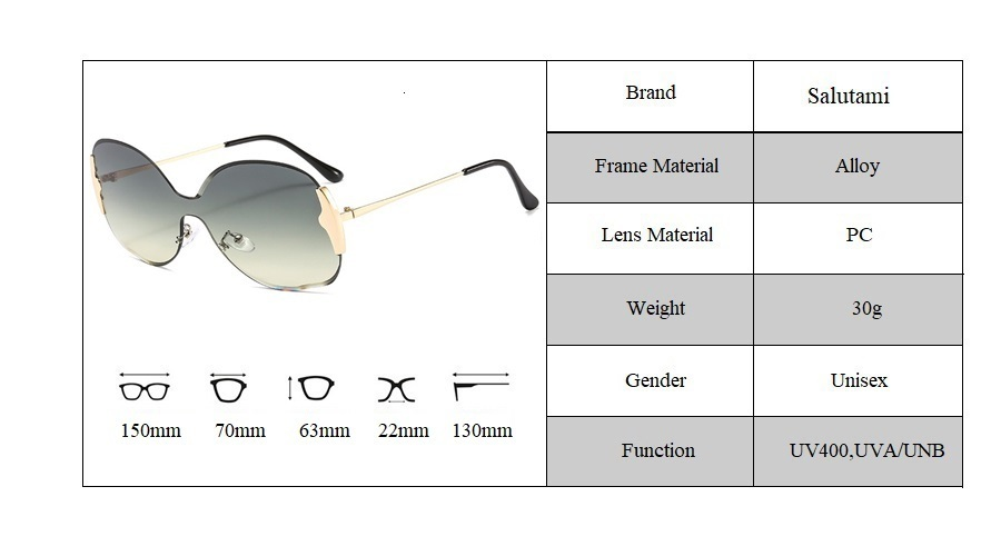Rimless One Piece Alloy Women's Sunglasses 2020 New Luxury Brand Oversized Round Sun Glasses Female Gradient Elegant Shades