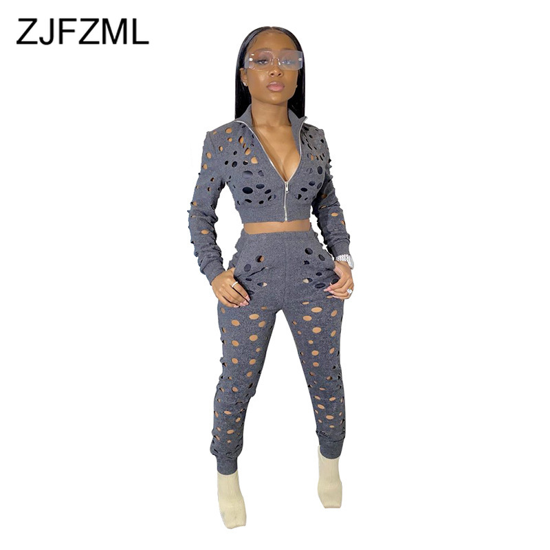 Sexy Hollow Out Hole Two Piece Set Women Long Sleeve Zipper Front Crop Top And High Waist Transparent Pencil Pants Club Outfit