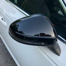 Czarna strona skrzydło lustrzane nakrętki dla Audi A4 A5 B9 2017 2018 2019 S4 S5 RS5 allroad Quattro wymienić okładki (błyszczący perłowy czarny) tanie tanio kibowear B9GLOSS ABS with glossy black finish Lustro i pokrowce replacement 460g one pair (right and left)