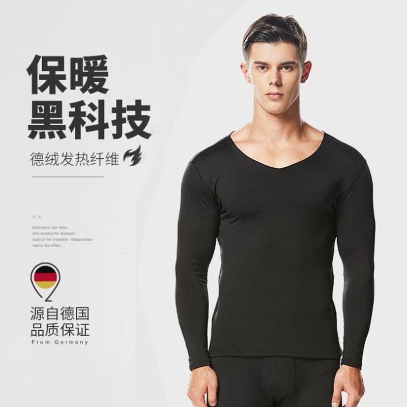 Men Seemless Thermal Underwear V-neck Thermal Underwear 37 Degree Temperature Seamless Winter Thin Cashmere Base