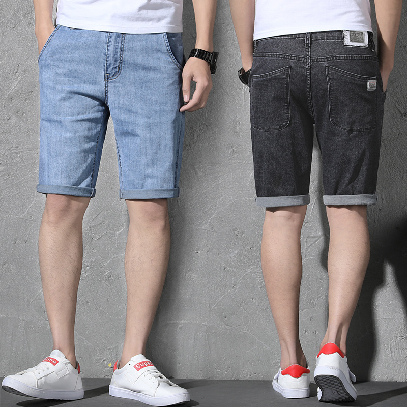 2019 Summer Thin Section Men's Elasticity Short Knee-length Denim Shorts Trend Versatile Medium Waist Large Size Denim Shorts