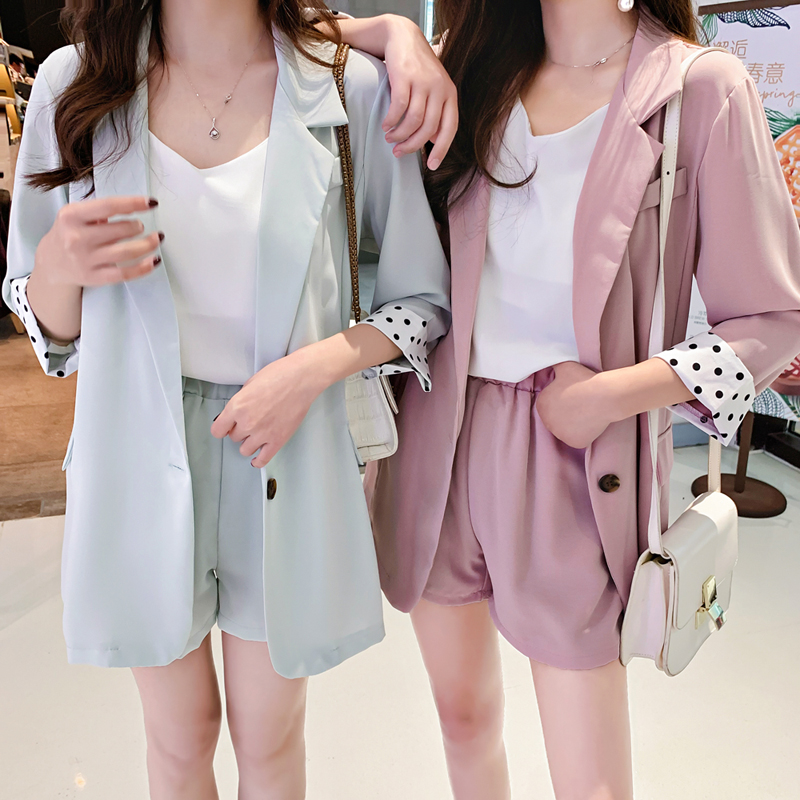 Chiffon Two Piece Thin Blazer Suits Spring Summer Shorts Suits Long Sleeve Casual Shorts+Blazers 2 Piece Women's Sets Jacket