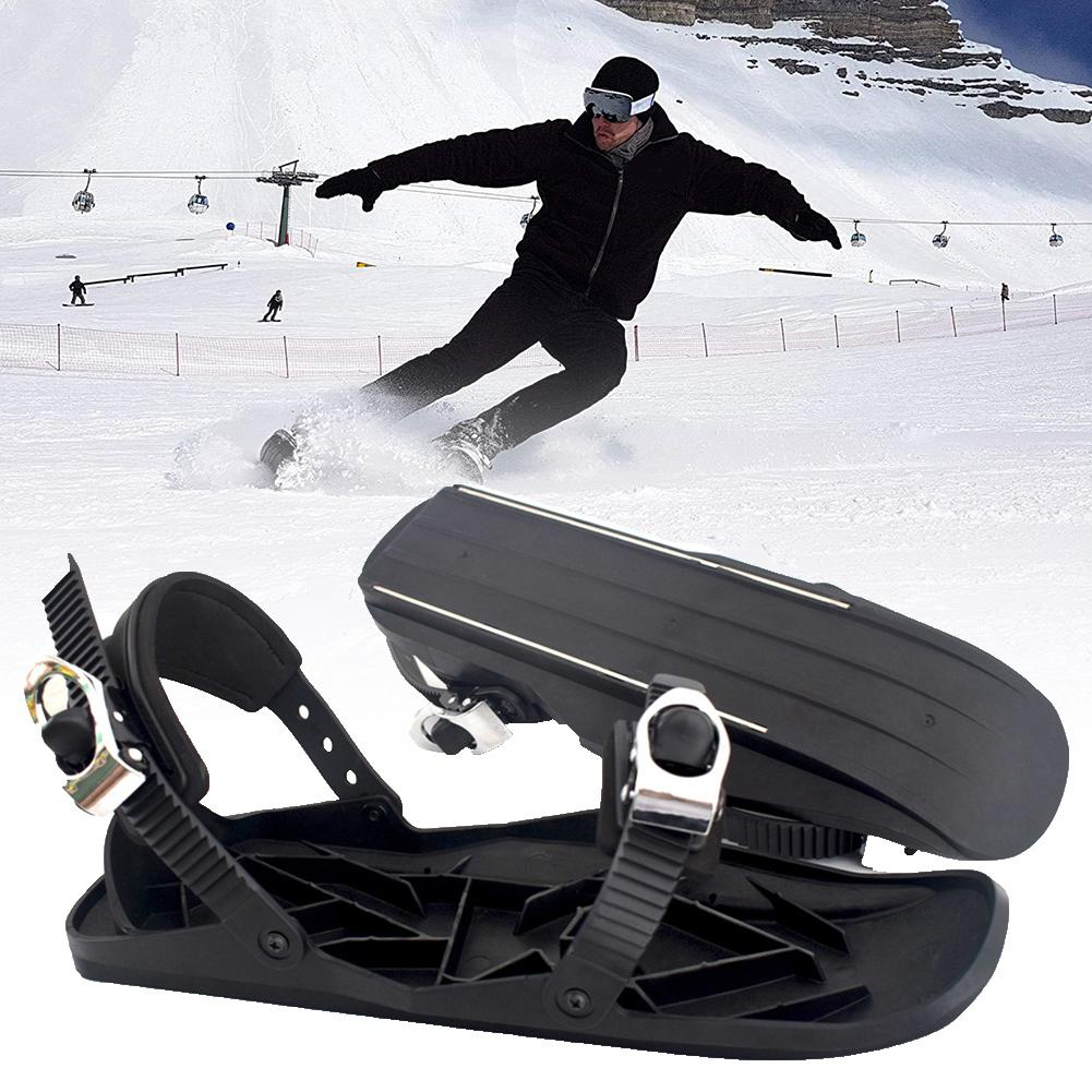 Portable Ski Skates Adjustable Mini Sled Outdoor Snowboard Skiing Boots Bindings Ski Shoes Snow Short Skiboard Snowblades