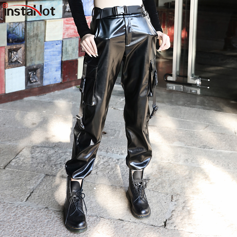 InstaHot Black Buckle PU Leather Cargo Pants Streetwear Solid Carrot Casual Pocket Trousers Women Autumn Winter Hot Sale 2019