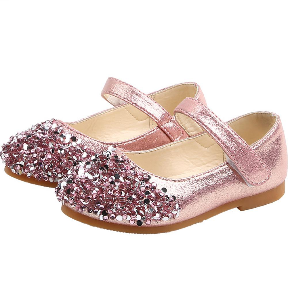 GloryStar Girl Baby Dance Shoes Rhinestone Non-slip Soft Sole PU Leather Princess Shoes for 1-3Y