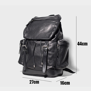Image 5 - AETOO رئيس الجلود على ظهره ، والجلود ثنائية حقيبة ظهر تحمل على الكتف ، والجلود الذكور حقيبة السفر