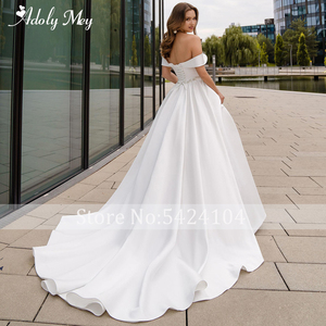 Image 2 - Adoly Mey Romantic Sweetheart Neck Lace Up Bride A Line Wedding Dress 2020 Luxury Beaded Satin Court Train Princess Wedding Gown