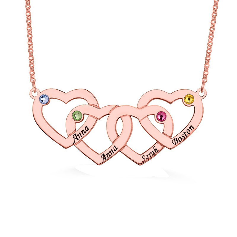 StrollGirl 925 Sterling Silver Engraved 1 5 Intertwined Hearts  Necklace With Birthstones Personalized Name Jewelry For FriendPendant  Necklaces