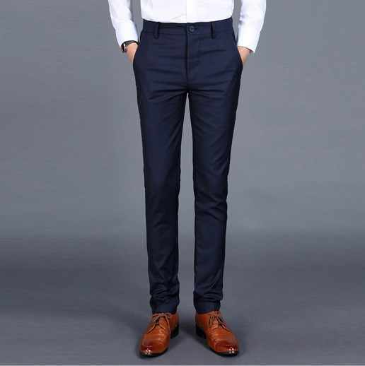 PJ Men/'s Slim Fit Pants Formal Office Business Wedding Straight Zipper Trousers