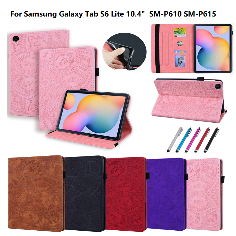 3D Embossed Case For Samsung Galaxy Tab S6 Lite Cover SM-P610 SM-P615 P610 Etui PU Leather Stand Cover Tablet Wallet Card Funda