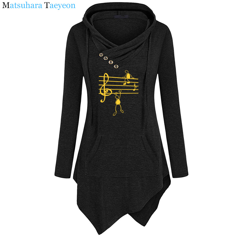 2019 New Music Notes Funny Print Hoodie Women Summer Style Cotton Long Sleeve Sweatshirt Hoodies Funny Irregular Clothing
