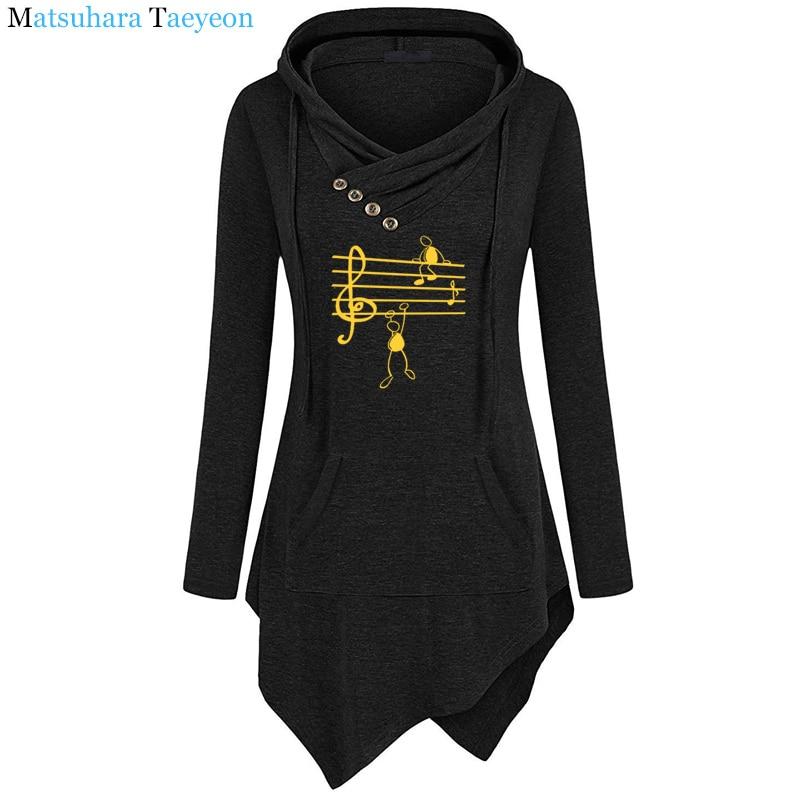 2019 New Music Notes Funny Print Hoodie Women Summer Style Cotton Long Sleeve Sweatshirt Hoodies Funny Irregular Clothing