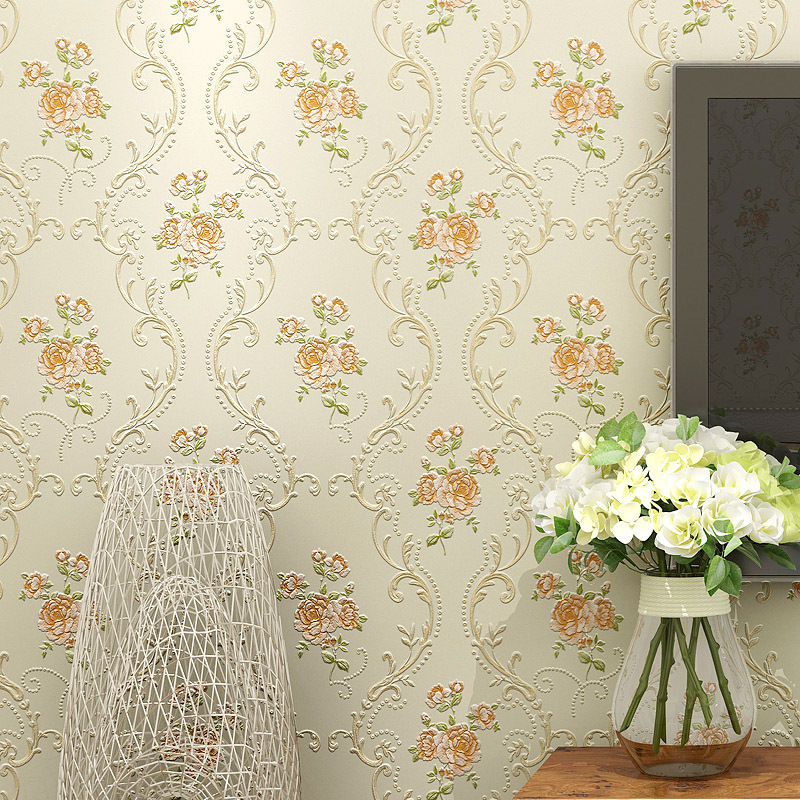 European Countryside 3D Non-woven Wallpaper Warm Marriage House Bedroom Living Room TV Wall Home Improvement Stereo Relief Wallp
