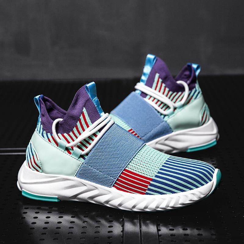 JINBAOKE New Design Men's Light Breathable Running Shoes Textile Sport Sneakers Comfortable Slip-On Walking Shoes Zapatillas