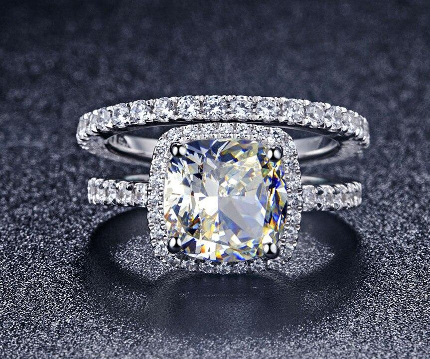 TRS008 luxe qualité NSCD synthétique gemme 3 carats coussin coupe fiançailles bague de mariage ensemble pour les femmes, ensemble de mariée