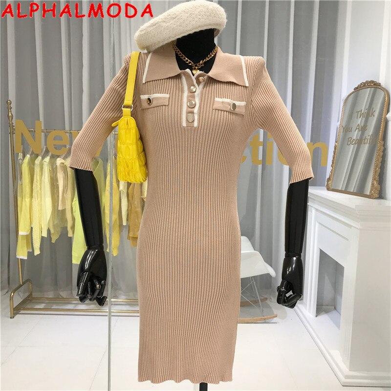 ALPHALMODA 2020 Spring Summer Women Turn-down Collar Half-sleeved Fashion Office Knitting Dress Slim Fit Ladies Elegant Dress
