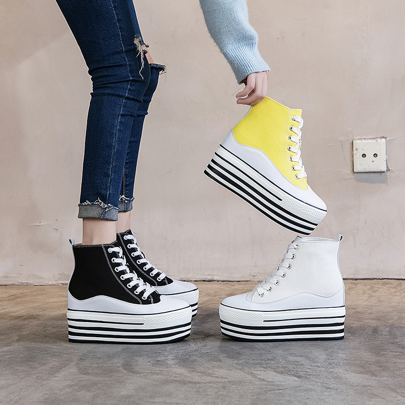 2020 Autumn Leisure Women's Shoes Inside Increase Muffin With Gao Help Shoes Popular Canvas Board Shoes Wenzhou Shoes