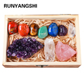 Drop shipping Natural Crystal 7 chakras Treatment Stone Amethyst cluster Collect Ore mark With Wooden Box