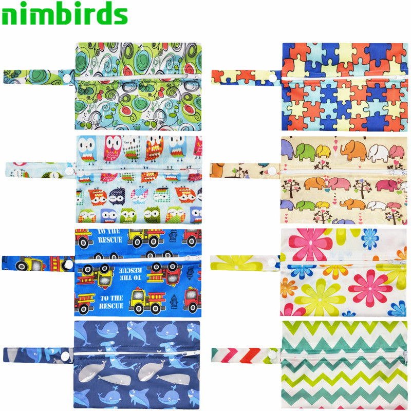 Waterproof Menstrual Pad Wet Bag Washable Nursing Pads Wet Bags Reusable PUL Sanitary Pads Wet Dry Wetbag Zipper Bags 14x20cm