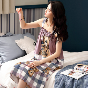 Image 3 - Caiyier Cute Bear Print Sling Nightgown Sleeveless Summer Night Dress Cotton Women Sleepshirts With Pocket Lounge Wear M XXL