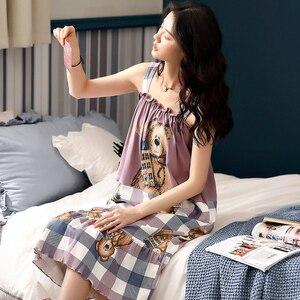 Image 3 - Camisón bonito estampado de oso Caiyier sin mangas de verano para mujer, Camisón de algodón con bolsillo, ropa de M XXL