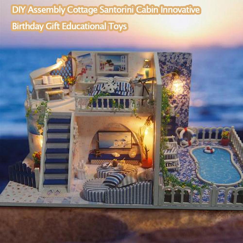 DIY Doll House Assembly Cottage Santorini Cabin Innovative Birthday Gift Educational Toys Home Decoration Illuminate Dollhouse
