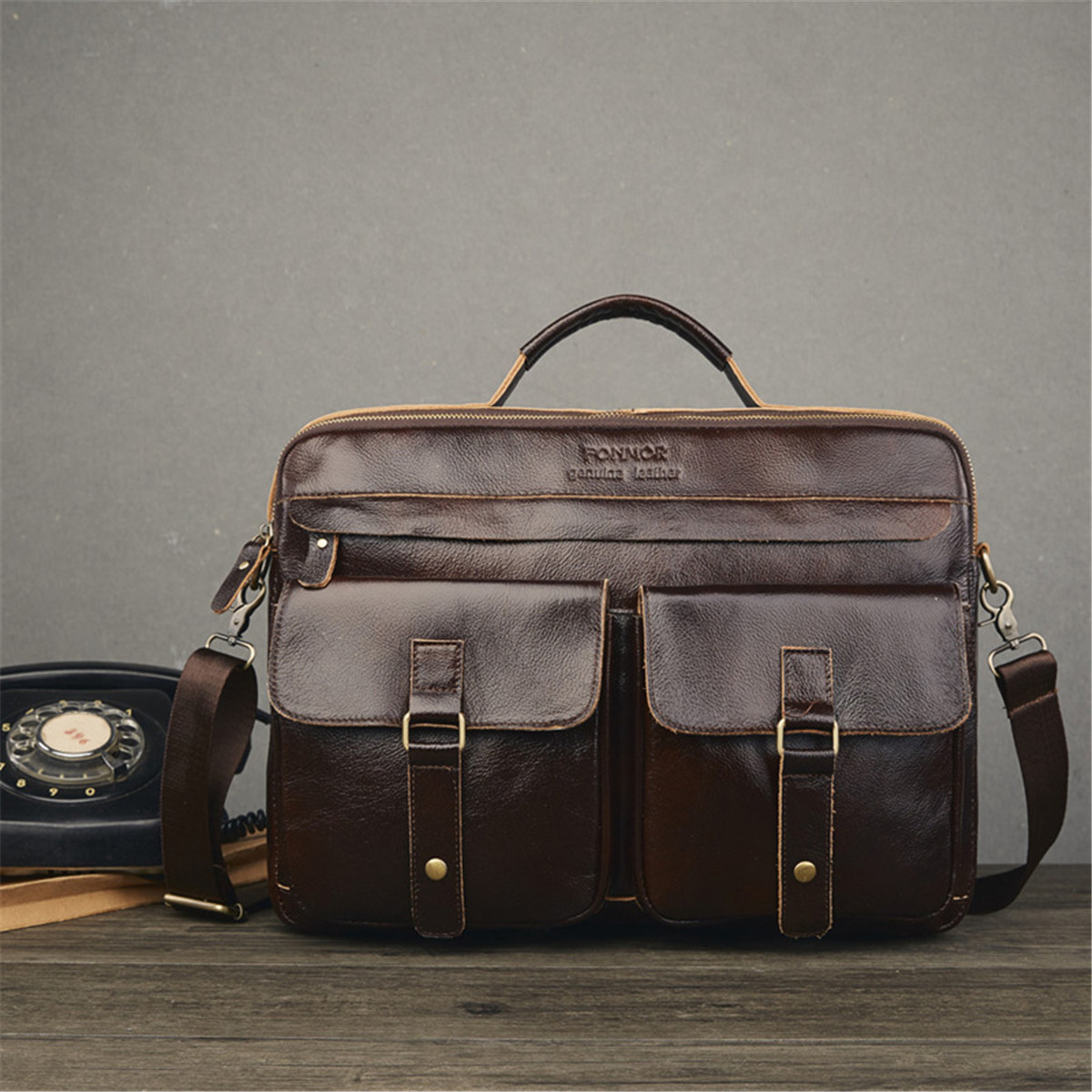 100% Top Layer Cowhide Men Leather Briefcase Business Handbag Messenger Bags Male Vintage Shoulder Bag Men's Large Laptop Bags
