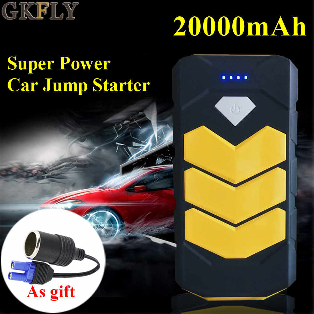 Gkfly Daya Tinggi 20000 MAh Starter Cables12V 400A Mobil Jump Starter Power Bank Atas Mulai Perangkat Mobil Jumper Kabel LED