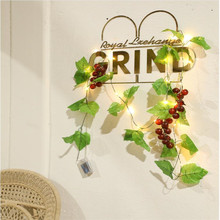 Grape leaves garland fairy lights 2m, led string lights, wedding home , Outdoor courtyards are decorated