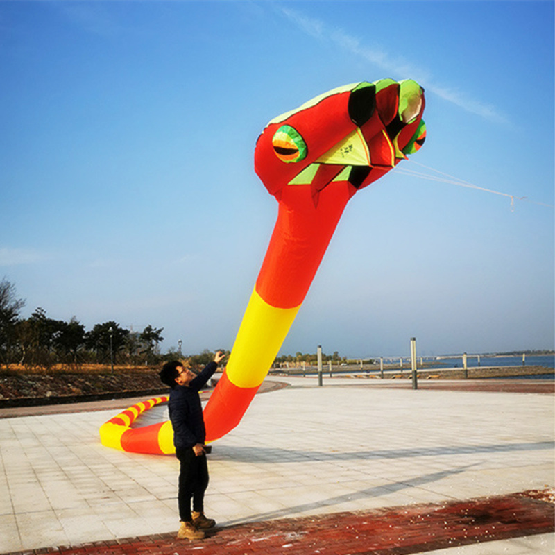 2020 New 3D Three-dimensional Soft Inflatable Adult 55m Snake Kite Large Animal Kite Outdoor Sports Flying Tool High Quality