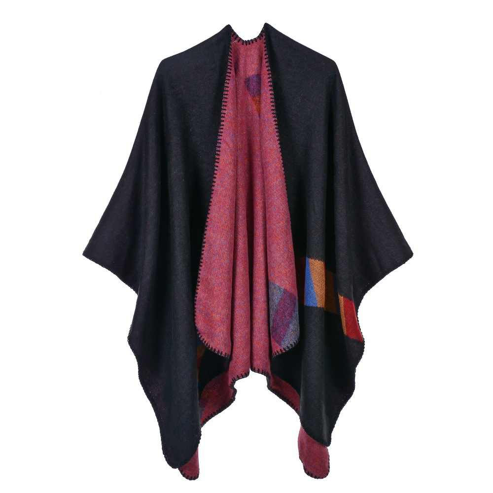 새로운 단색 여성 가을과 겨울 따뜻한 영국 스타일의 컬러 바 따뜻한 모조 캐시미어 목도리 케이프 증가