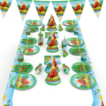 Dinosaur Party Tableware Paper Plate Cup Napkins Tablecloth Banner Happy Birthday Event Party Supplies for Boys children s birthday dinosaur cutlery party supplies set paper hat paper cup paper tablecloth gift bag props