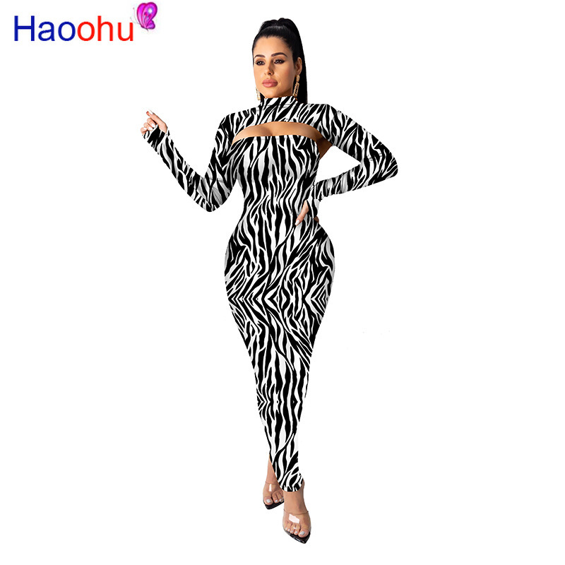 Autumn Women Winter 2 Pieces Long Sleeve Stand Leopard Print Bodycon Party Dresses Sexy Bandage Night Club Midi Dress