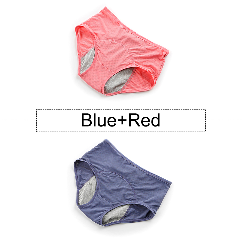 2Pcs/lot Cotton Menstrual Panties Leak Proof Period Underwear Women High Waist Seamless Briefs With Breathable Holes Plus Size 10