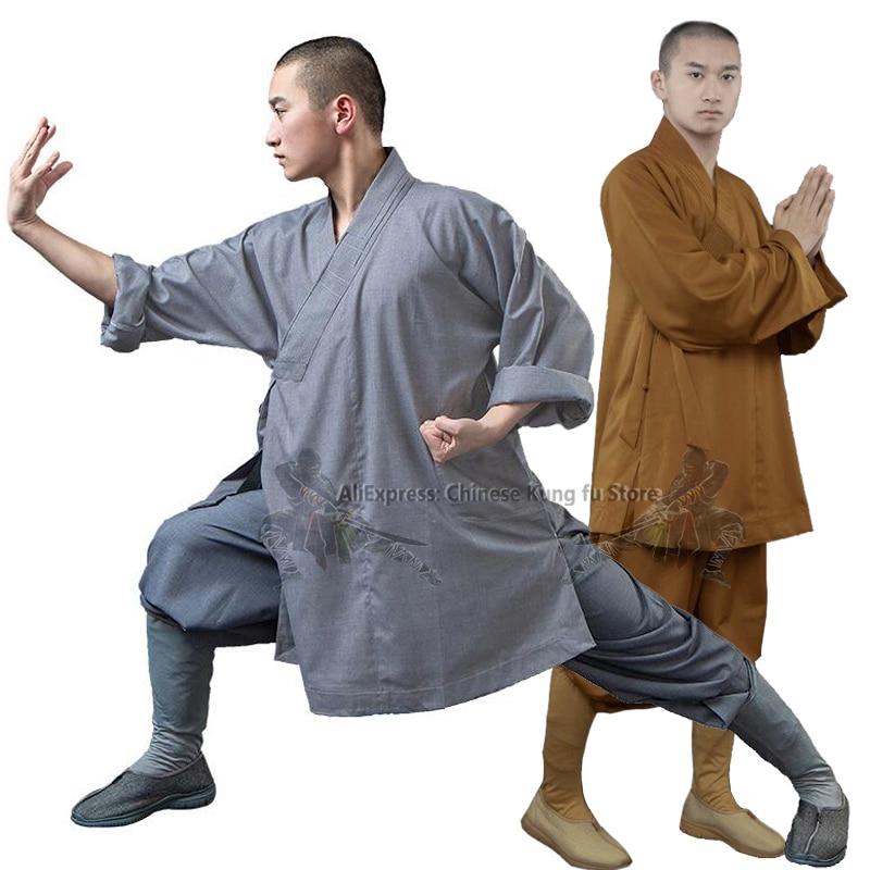 Thick Cotton Shaolin Buddhist Monk Robe Arhat Kung Fu Uniform Martial Arts Meditation Suit