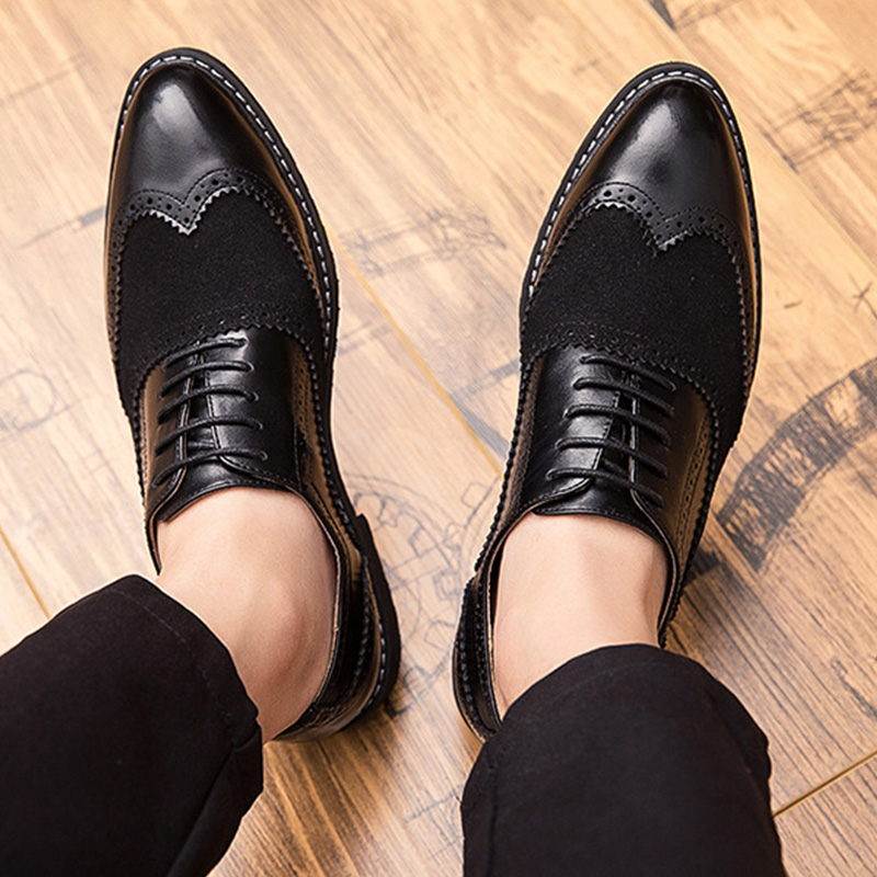 British 2019 Spring New Cow Suede Men Shoes Pointed Toe Brogue Carved Lace Up Bullock Business Men Oxfords Shoes Men Dress Shoes in Formal Shoes from Shoes