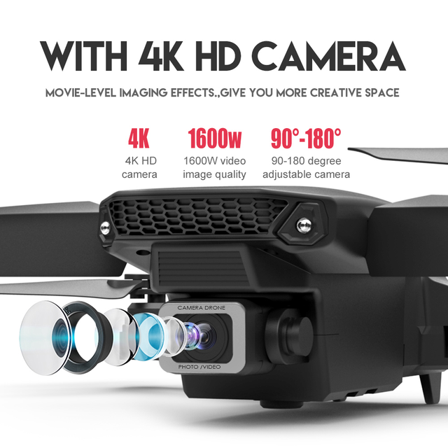 LSRC E525 RC drone with wide-angle HD 4K 1080P dual camera height keeping Wifi RC foldable quadrotor drone gift toy 4