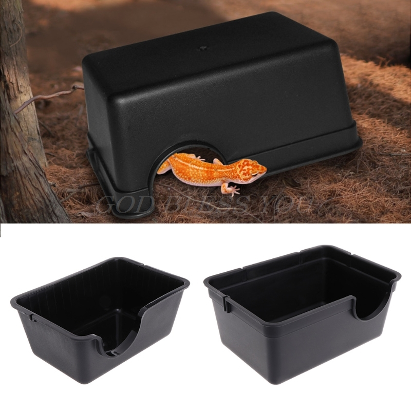 New Reptile Box Hiding Case Hole Water Feeder Spider Turtle Snake Supplies Centipede Reptile Accessories Hiding Box