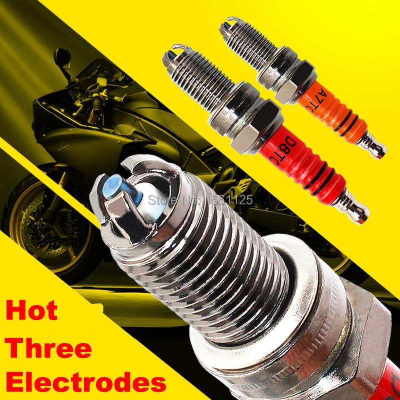 1PC Three-electrode Super D8TC Motorcycle Spark Plug 125cc For DR8EA D8EA DR8EIX DPR8EA-9 DPR8EIX-9 IX24 X24ESR-U HG22