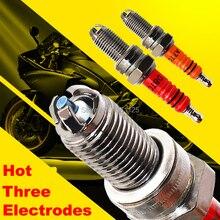 1PC trzy elektrody Super D8TC motocyklowa świeca zapłonowa D8TJC 125cc dla DR8EA D8EA DR8EIX DPR8EA 9 DPR8EIX 9 IX24 X24ESR U HG22