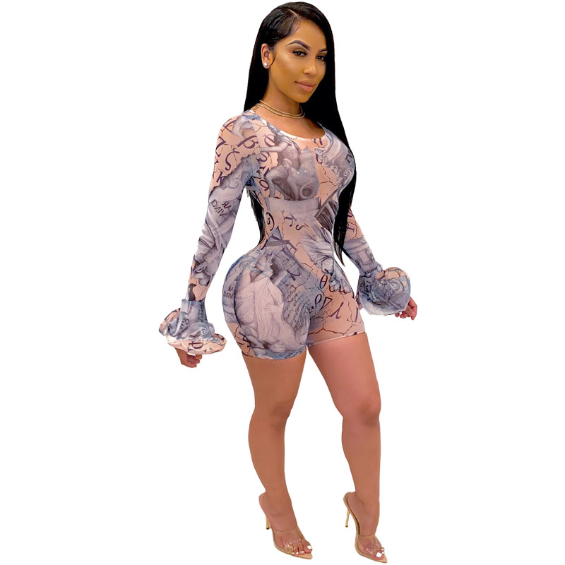 Fashion Print  Sheer Mesh Short Jumpsuit Women O Neck Long Flare Sleeve Skinny Romper Night Club Bodycon Rompers Outfits S XXL